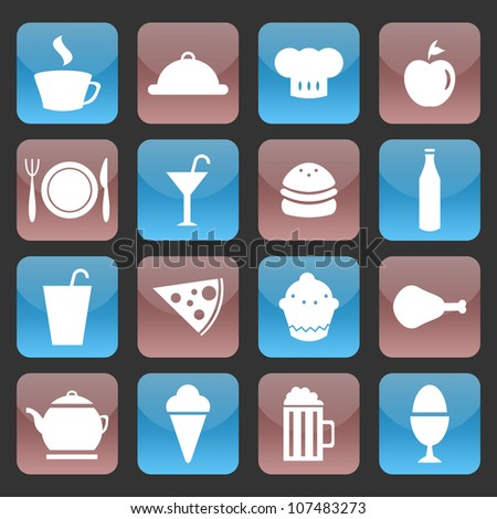 Set of glossy food icons