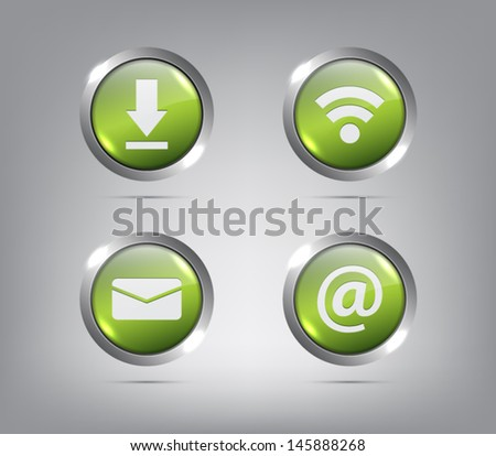 Set of glossy icons / buttons with shiny metallic ring for websites (UI) or applications (app) for smartphones and tablets - stock vector
