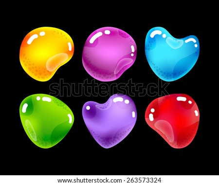 Set of glossy jewel stones for game design. Arcade style - stock vector