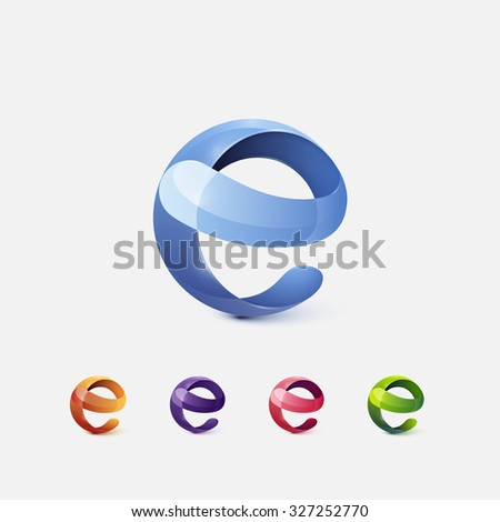 Set Of Glossy Logo Design. Letter E. Colorful Icons. Vector Illustration. - stock vector