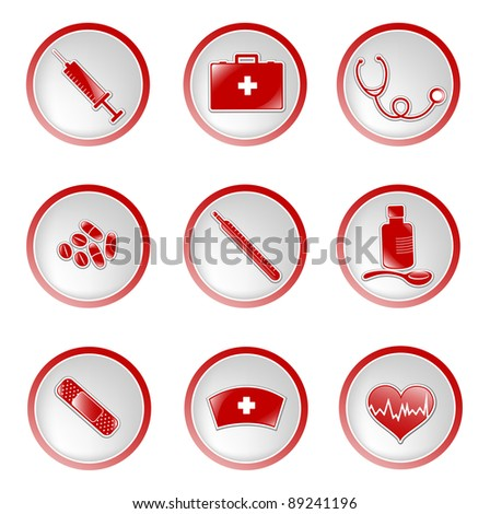 set of glossy medical icons