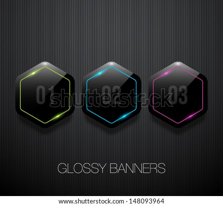 Set of glossy plastic banners with shiny neon lights for business design, infographics, reports, number options, step presentation or workflow layout. Clean and modern style - stock vector