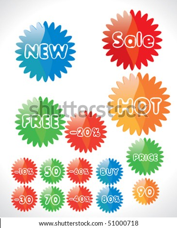 Set of glossy price tags. Vector. - stock vector