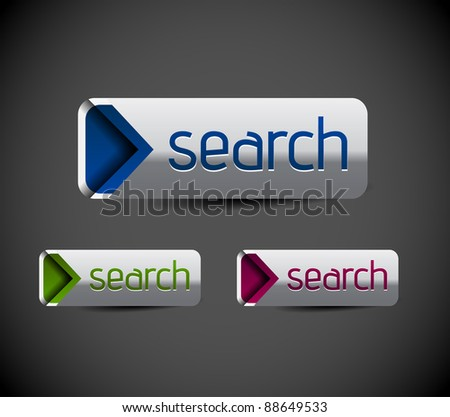 Set of glossy search icon, three multi color isolated on white background - stock vector