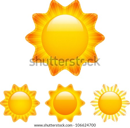 Set of glossy sun images with rays. Vector illustration - stock vector