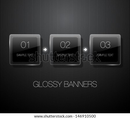 Set of glossy vector banners with shiny lights over black pattern background for business design, infographics, reports, number options, step presentation or workflow layout. Clean and modern style