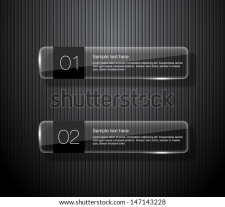 Set of glossy vector banners with shiny lights over black pattern background for business design, infographics, reports, number options, step presentation or workflow layout. Clean and modern style - stock vector