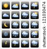 Set of glossy weather icons useful for web design purposes - stock photo