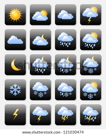 Set of glossy weather icons useful for web design purposes