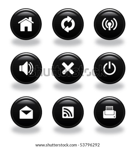 Set of glossy web icons - stock vector