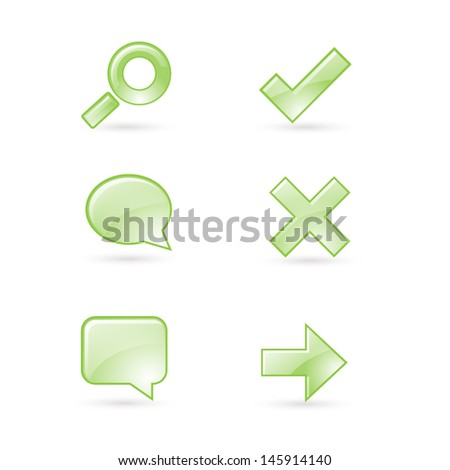 Set of glossy web icons; 3D glass search check bubble arrow pictograms - stock vector
