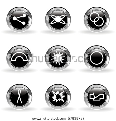 Set of 9 glossy web icons (set 10). Black circle with star reflection and shadow.