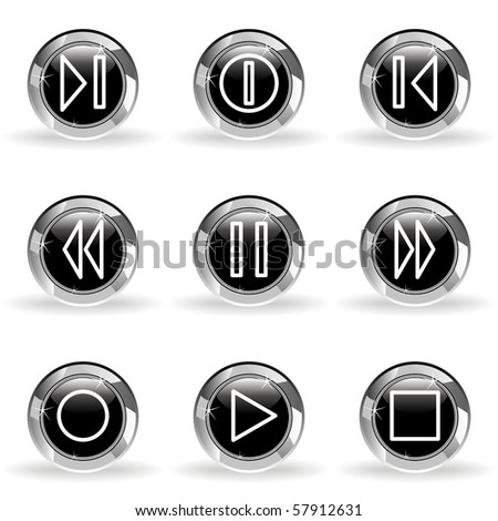 Set of 9 glossy web icons (set 23). Black circle with star reflection and shadow. - stock vector