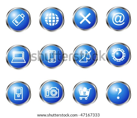 Set of 12 glossy web icons (set 13). Blue color.