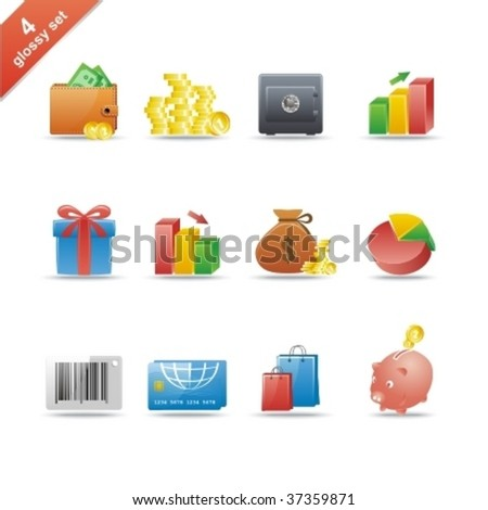 Set of 12 glossy web icons. Shopping, business and money icon set. Part 4. (see other in my portfolio) - stock vector
