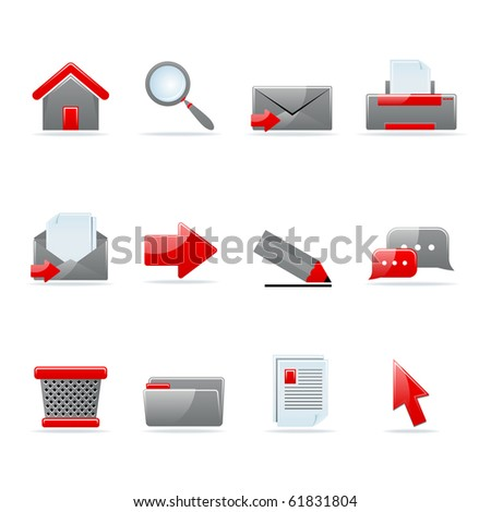 Set of 12 glossy web icons. Shopping, business and money icon set. Part 1. (see other in my portfolio). - stock vector