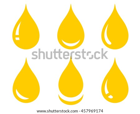 set of glossy yellow oil drop on white background