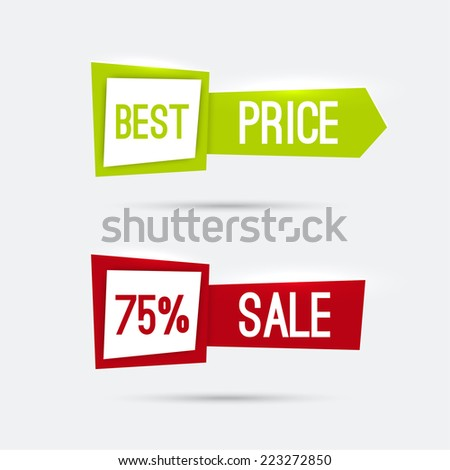 Set of glowing banners with discounts and great deals buying goods. best price, sale, red, green - stock vector