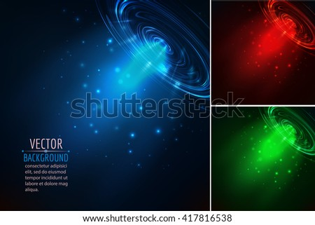 Set of glowing beam. Abstract vector background. - stock vector