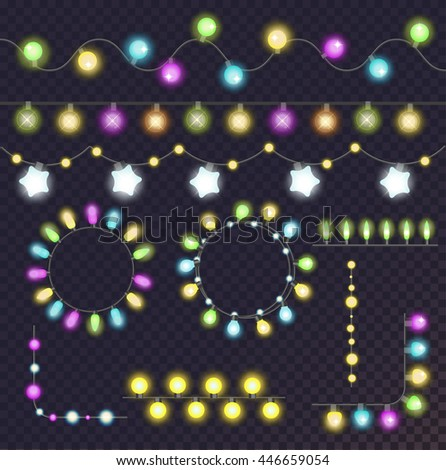 Set of glowing christmas garland light bulbs for xmas holiday greeting cards design. Light bulbs garland light bulbs collection. Celebration party holiday garland light bulbs decorative shine elements - stock vector