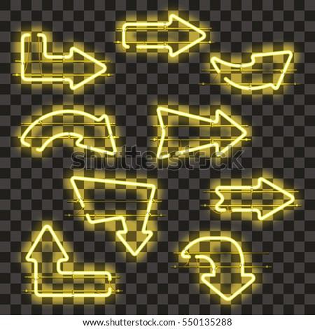 Set of glowing yellow neon arrows isolated on transparent background. Shining and glowing neon effect. Every arrow is separate unit with wires, tubes, brackets and holders. Vector illustration.