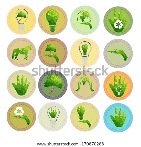 set of go green icon - stock vector