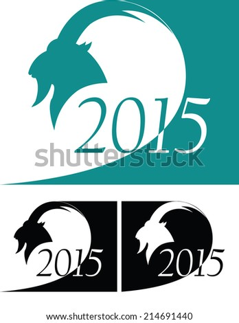 set of goat as symbol 2015 year - stock vector
