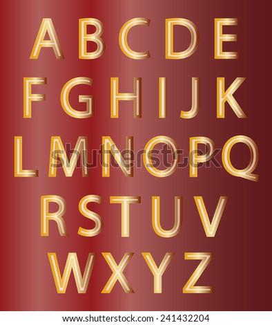 Set of gold alphabet design symbols on red background - stock vector