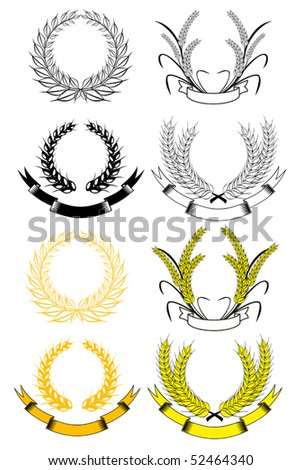 Set of gold and black laurel wreaths - also as emblem. Jpeg version also available - stock vector