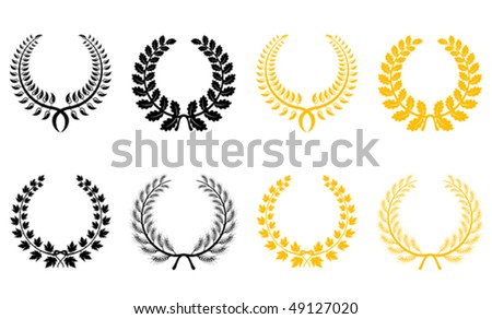 Set of gold and black laurel wreaths. Jpeg version is also available  - stock vector