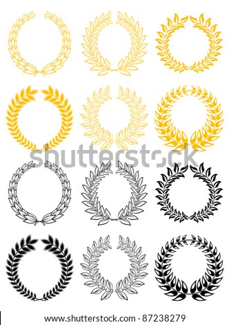 Set of gold and black laurel wreaths, such a logo. Rasterized version also available in gallery - stock vector