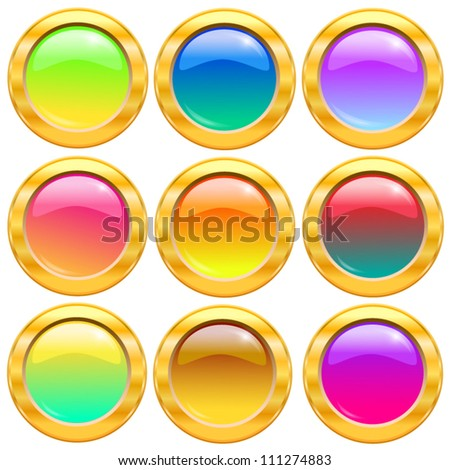 Set of gold and colorful buttons.Vector illustration