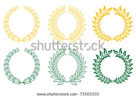 Set of gold and green laurel wreaths.  Jpeg version also available in gallery - stock vector
