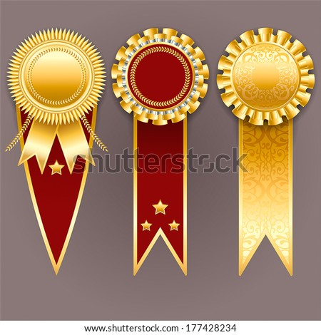 Set of gold and red badges with ribbons. Vector champion medals.  - stock vector