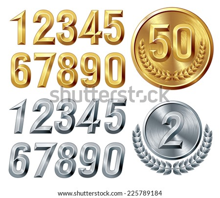 Set of gold and silver digits. Eps8. CMYK. Global colors. Gradients used. - stock vector