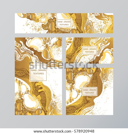 Set of gold and white business card template or gift cards. Texture of Marble bubbles splash abstract background, hand-drawn vector. Luxury illustration. Easy editable template. Space for text.
