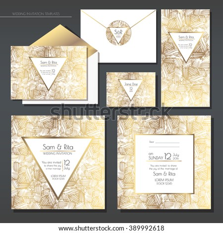 Set of gold and white wedding cards. Wedding invitations, envelope, sticker. EPS 10 vector illustration with a copy space. - stock vector