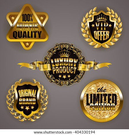 Set of gold badges with laurel wreath, star. Limited edition, 100 % authentic quality, vip offer, luxury product, original brand. Emblems, logo, icons, medals for web, page design. Illustration EPS 10 - stock vector