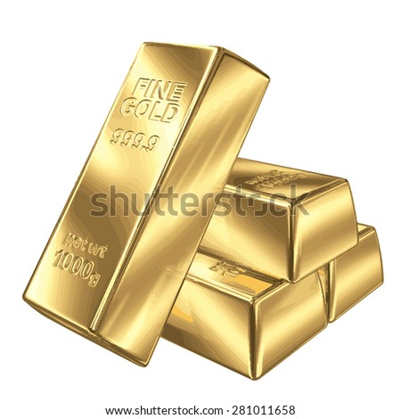 Set of gold bars vector illustration EPS 8. - stock vector