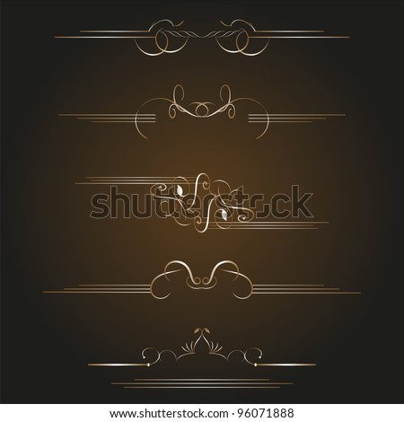 set of gold calligraphic design elements and page decoration. vintage set - stock vector