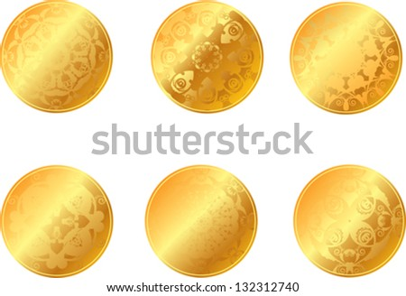 set of gold coins or medals - stock vector