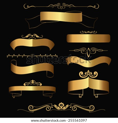 Set of gold contour ribbons and icons. Vector illustration