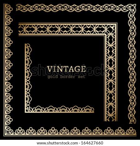 Set of gold corners on black, vintage vector decorative elements - stock vector