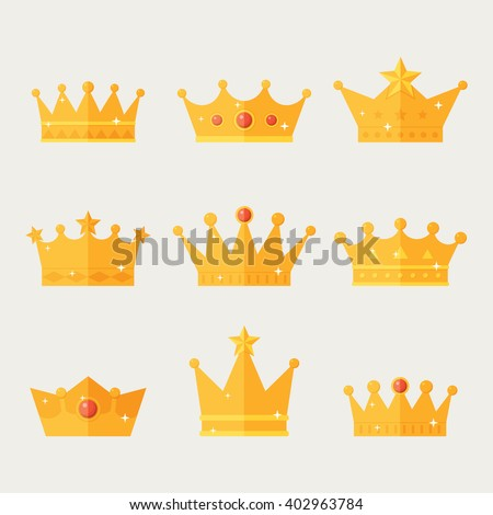 Set of gold crown icons. Collection of crown awards for winners, champions, leadership. Vector isolated elements for logo, label, game,  hotel, an app design. Royal king, queen, princess crown.  - stock vector