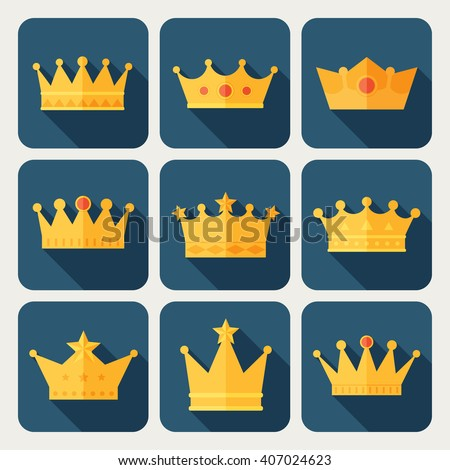 Set of gold crown icons. Collection of crown awards for winners, champions, leadership. Vector isolated elements for logo, label, game,  hotel, an app design.  Royal king, queen or princess crown.