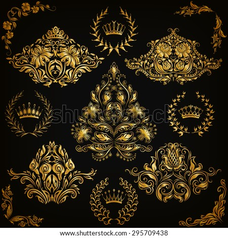Set of gold damask ornaments. Floral element, ornate border, corner, crown, frame, laurel wreath for design. Page, web royal decoration on black background in vintage style. Vector illustration EPS 10 - stock vector