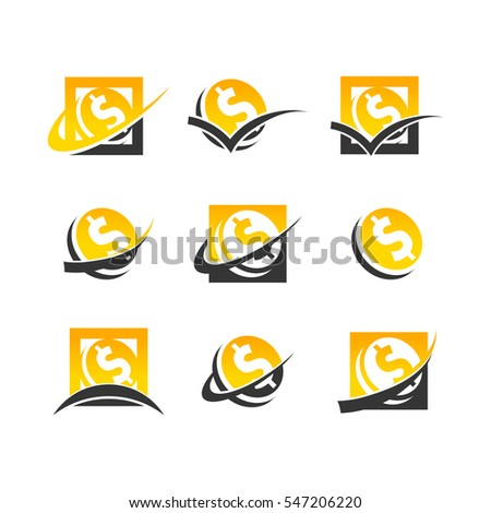 Set of gold dollar coin icons