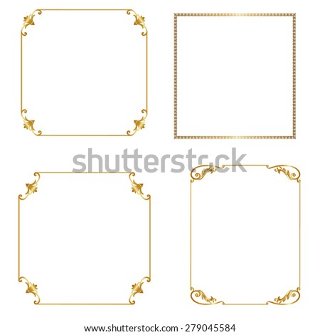 Set of gold frames isolated on white background - stock vector