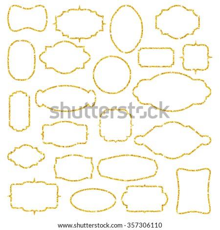 Set of gold glitter frames. Gold sparkles on white background. Vintage elements for design, logo, card, web, invitation, business, party, fashion. Gold frames for your text. Vector illustration. - stock vector