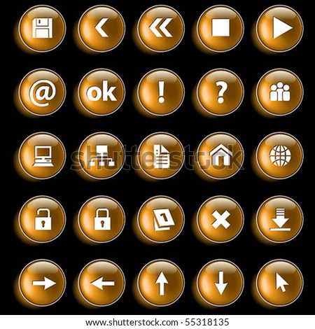 Set of gold glossy buttons for web design on black background